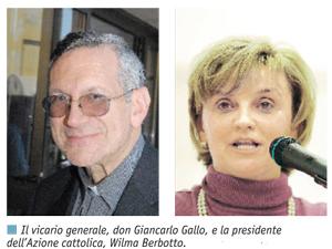 Il vicario generale, don Giancarlo Gallo, e la presidente dell'Azione cattolica, Wilma Berbotto.