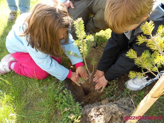 Festa dell'Albero: i bambini piantano un germoglio