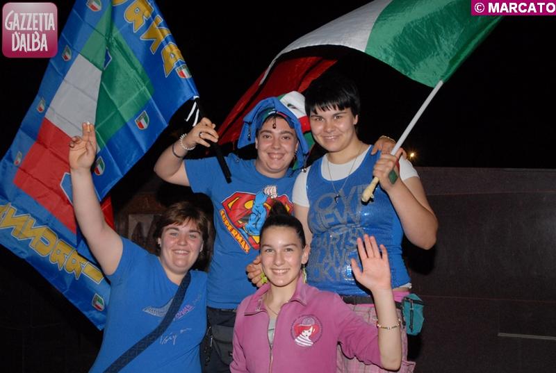 I festeggiamenti per la vittoria dell'Italia