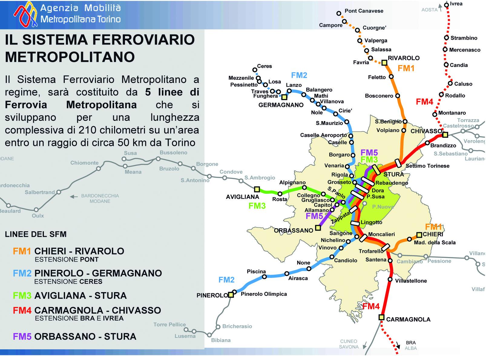 Il sistema ferroviario metropolitano di Torino (clicca per ingrandire)