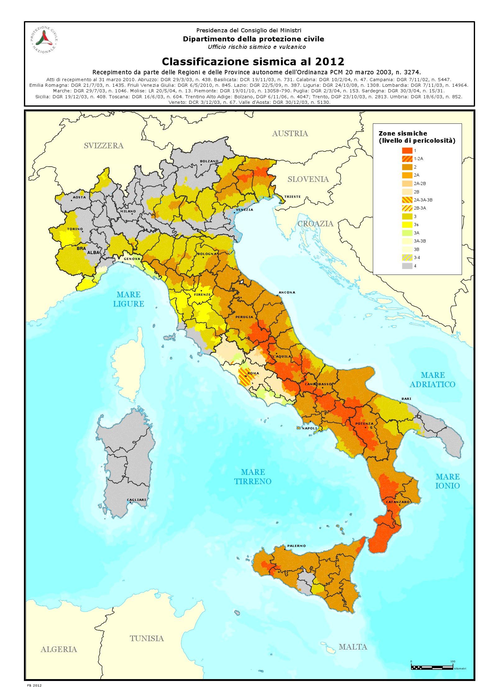 La mappa della classificazione sismica (clicca per ingrandire)