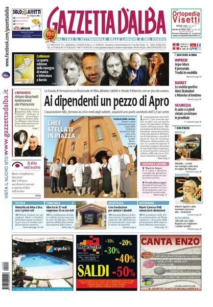 La copertina di Gazzetta d'Alba del 10 luglio 2012.