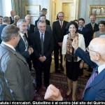 Paolo Giubellino con i ricercatori dell'Istituto nazionale di fisica nucleare e del Cern dal presidente della Repubblica