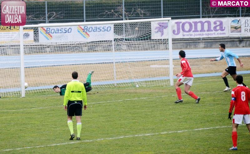 Il 4-2 per l'Albese siglato da Garrone all'inizio della ripresa.
