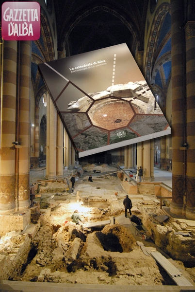 Un'immagine degli scavi nell'autunno del 2007 e la copertina del libro