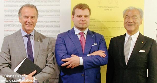 Aldo Cingolani e Franco Miroglio con Muneaki Masuda al Food wine design.