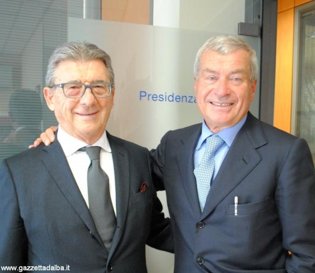 Il presidente dell'Associazione commercianti albesi Giancarlo Drocco e il presidente di Confcommercio-Imprese per l'Italia Carlo Sangalli.