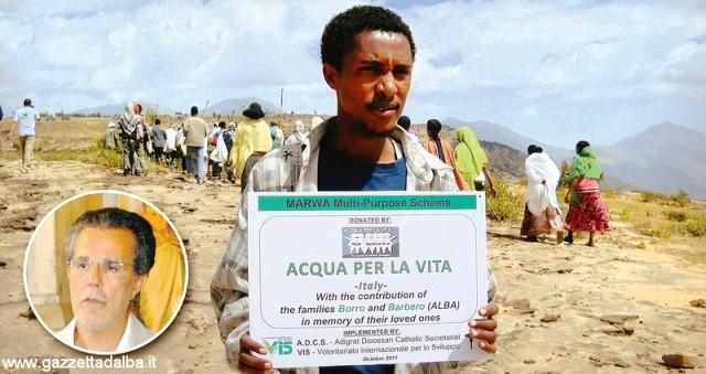 """Una delle molteplici """"imprese"""" di Vincenzo D'Amore (nel cerchio), prima di partire per Malta: la realizzazione in Africa di pozzi per l'acqua attraverso l'associazione """"Acqua per la vita""""."""