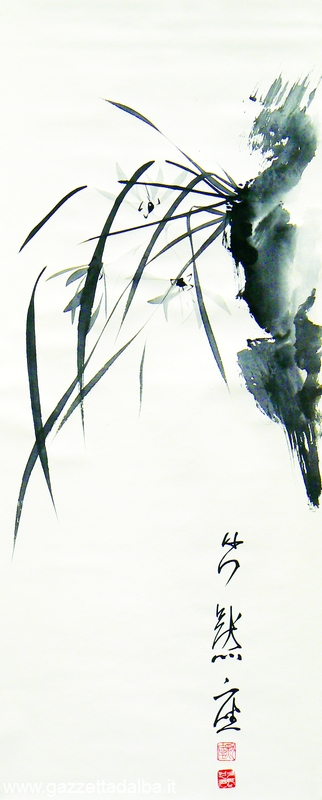 Orchidea selvatica pittura sumi-e