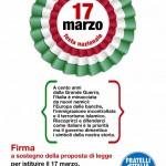 Fratelli d'Italia raccoglie le firme per istituire la festa dell'Unità d'Italia