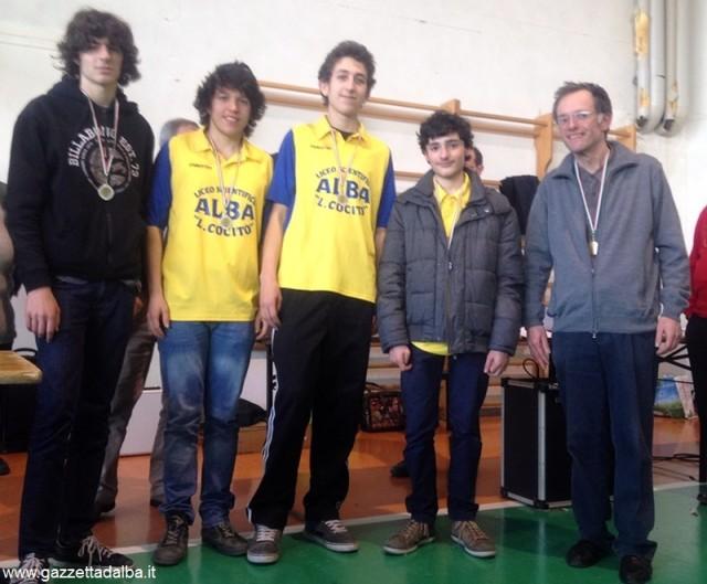 La squadra allievi, da sinistra: Giovanni Graziano, Matteo Neri, Marco Varaldo e Niccolò Barbalato.