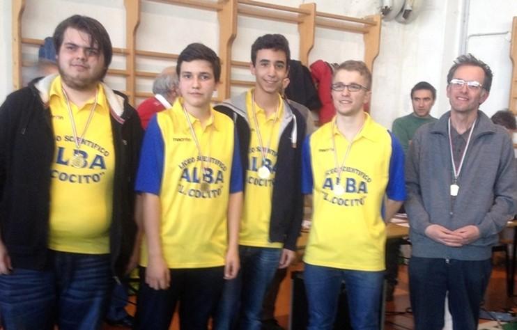 La squadra juniores, da sinistra nella foto:  Paolo Drago, Riccardo Bisi, Alessandro Vercelli e Michele Vioglio.