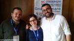I Pellegrini nel cyberspazio di Gazzetta d'Alba Marcello Pasquero (a sinistra) e  Alessia Alloesio con Simone Incicco, organizzatore del meeting della Fisc.