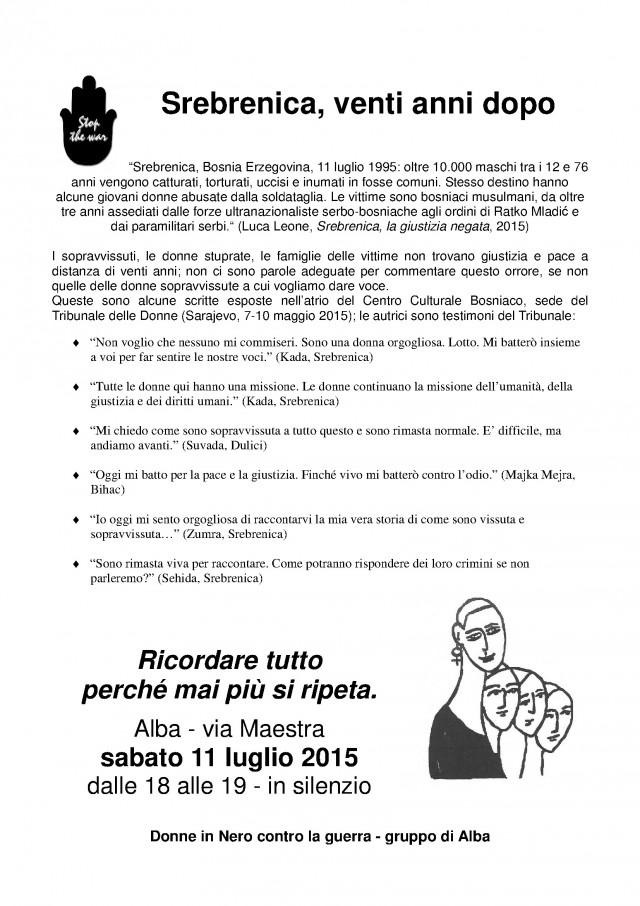 Il volantino della manifestazione di sabato 11 luglio.