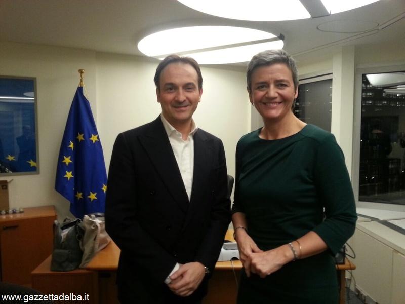 Alberto Cirio con la danese Margrethe Vestager, commissario europeo per la concorrenza