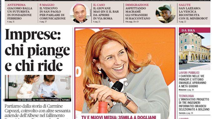 La copertina di Gazzetta d'Alba del 10 maggio 2016 1