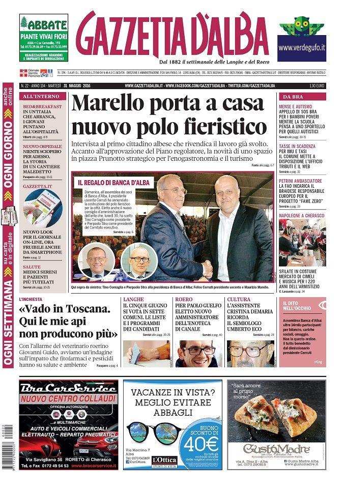 La copertina di Gazzetta d'Alba del 31 maggio 2016