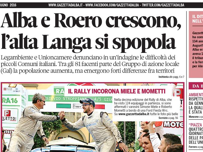 La copertina di Gazzetta d'Alba del 7 giugno 2016 1