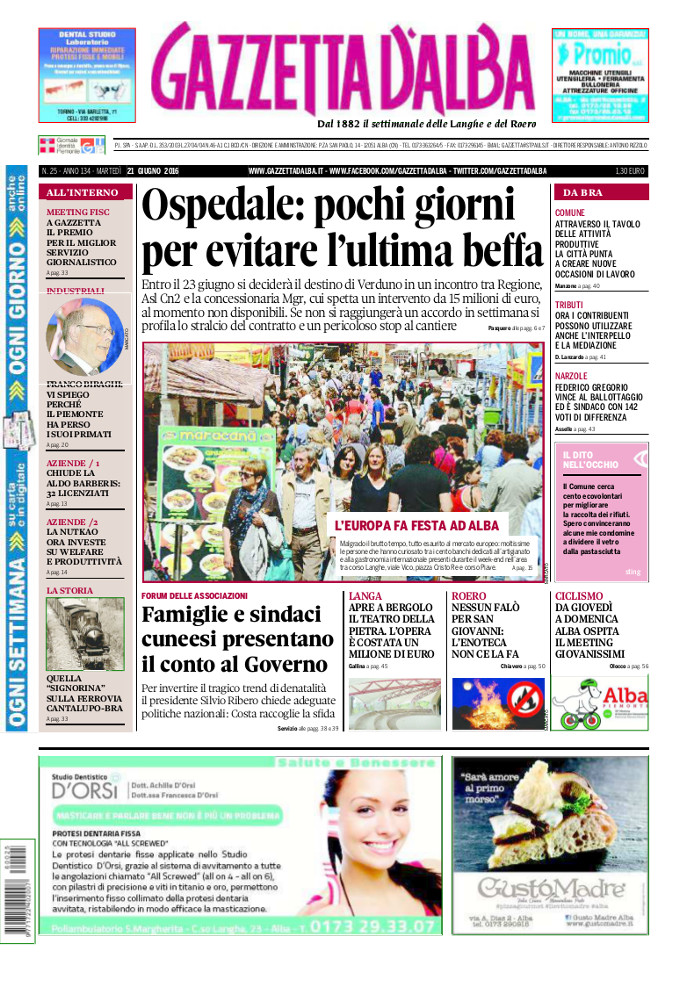 La copertina di Gazzetta d'Alba del 14 giugno 2016 2
