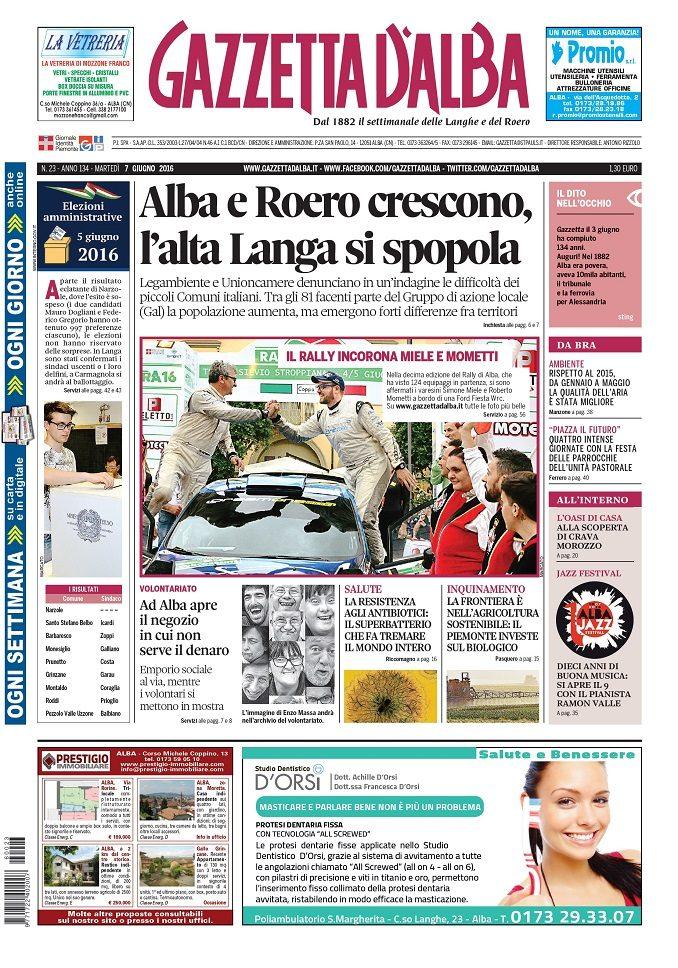 La copertina di Gazzetta d'Alba del 7 giugno 2016