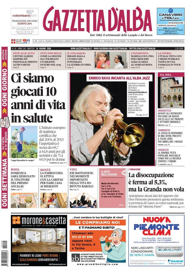 La copertina di Gazzetta d'Alba del 14 giugno 2016