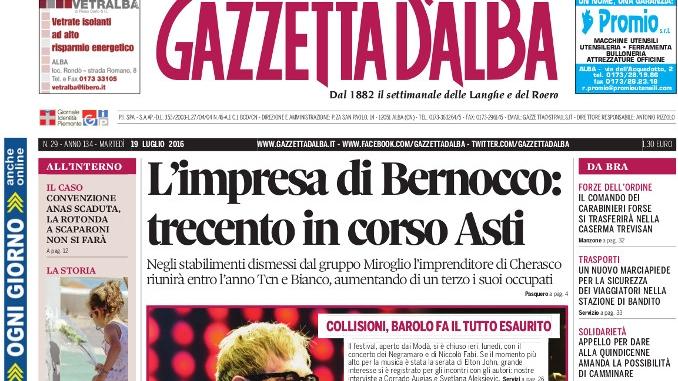La copertina di Gazzetta d'Alba del 19 luglio