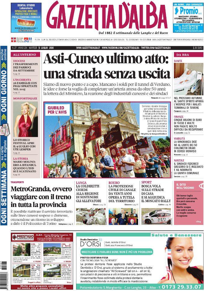 La copertina di Gazzetta d'Alba del 5 luglio