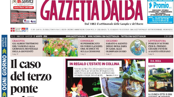 La copertina di Gazzetta d'Alba in edicola martedì 2 agosto