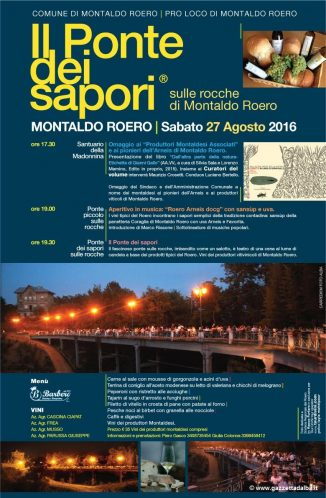 """Sabato 27 agosto, ritorna il """"Ponte dei Sapori"""" a Montaldo"""