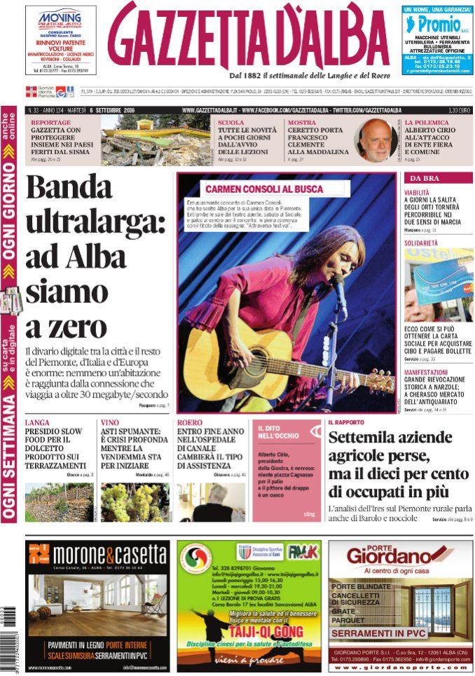 La copertina di Gazzetta d'Alba in edicola martedì 6 settembre