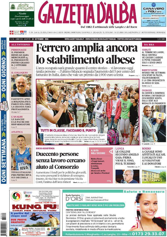 La copertina di Gazzetta d'Alba in edicola martedì 13 settembre