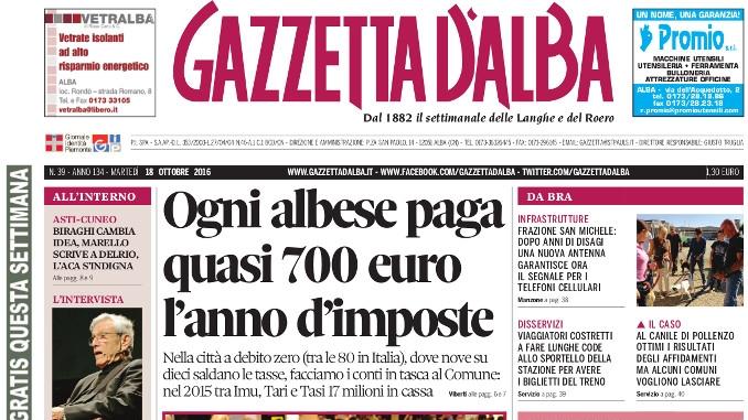 La copertina del numero 39 di Gazzetta d'Alba in edicola martedì 18 ottobre 1