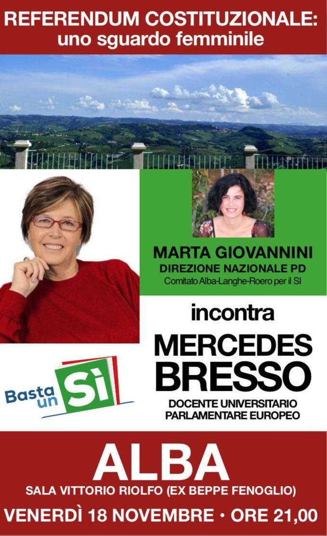 Sì al referendum, incontro ad Alba con Mercedes Bresso e Marta Giovannini