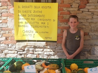 Matteo, 12 anni, con le zucche ha regalato una bici ai ragazzini di Amatrice
