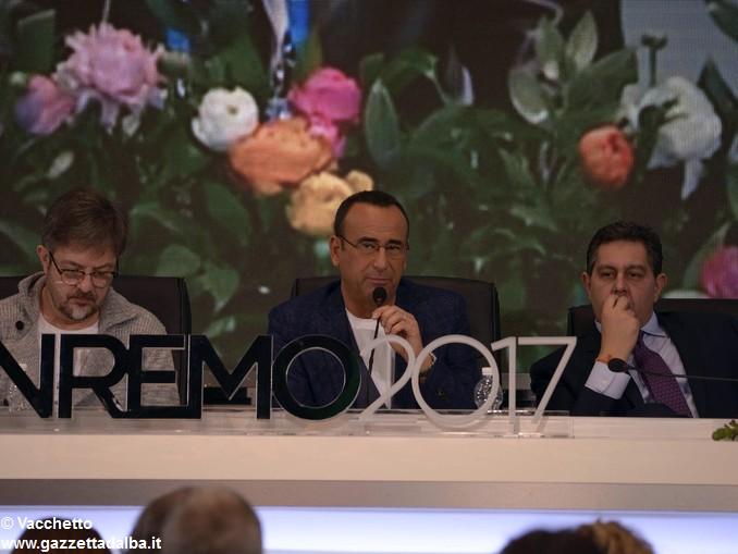 Sanremo Rocco Tanica Carlo Conti e il presidente della regione Ligura Toti