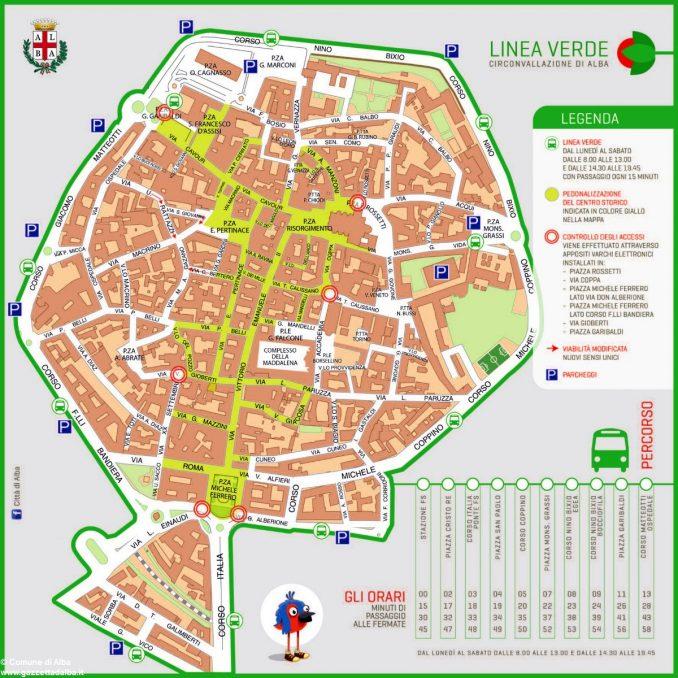 Mappa navetta linea verde di Alba