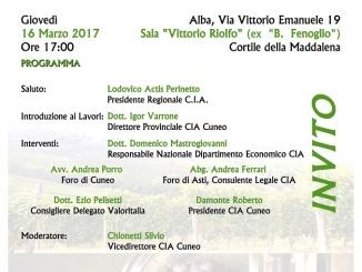 """Convegno Cia sul """"Testo unico del vino"""" giovedì 16 marzo in sala Riolfo"""