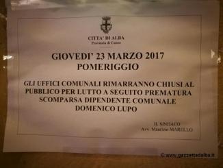Tutti gli uffici comunali chiusi, nel pomeriggio, per la scomparsa di Domenico Lupo