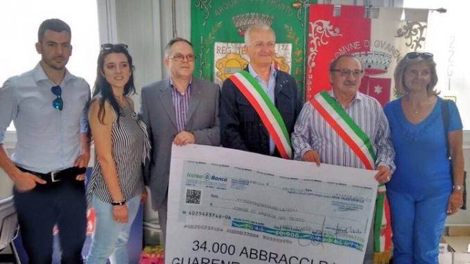 Il Roero ha donato un mega assegno ad Arquata del Tronto