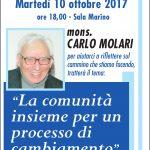 Incontro con il teologo Carlo Molari martedì 10 ottobre