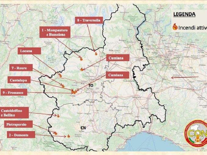 Incendi: vvf, undici roghi boschivi in Piemonte