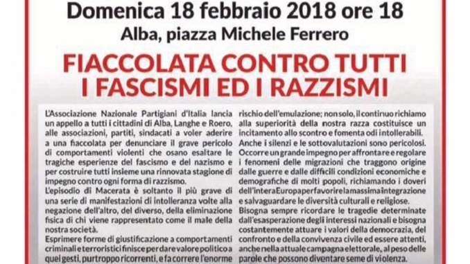 Anpi: una fiaccolata per dire no a tutti i fascismi e a tutti i razzismi