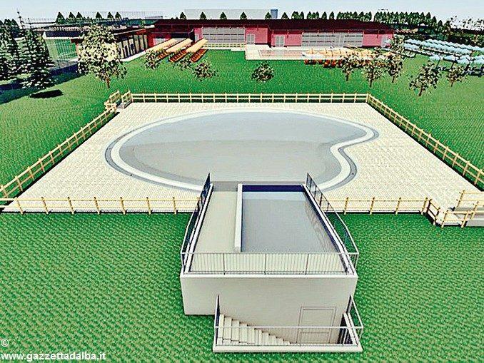 Una nuova vasca tipo laguna all'impianto sportivo di Montà