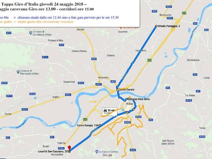 Giro d'Italia ad Alba: i divieti e le strade che resteranno aperte