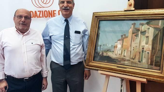 Un quadro di Giulio Boetto donato alla fondazione Crc da Mario Fulcheri