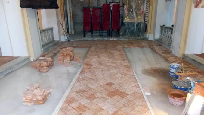 Recuperato l'antico pavimento in cotto del santuario