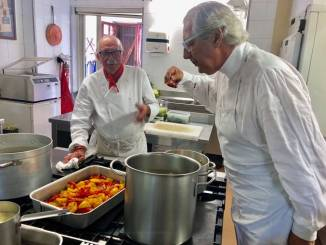 Striscia la Notizia ad Albaretto per un servizio sul cuoco Cesare Giaccone