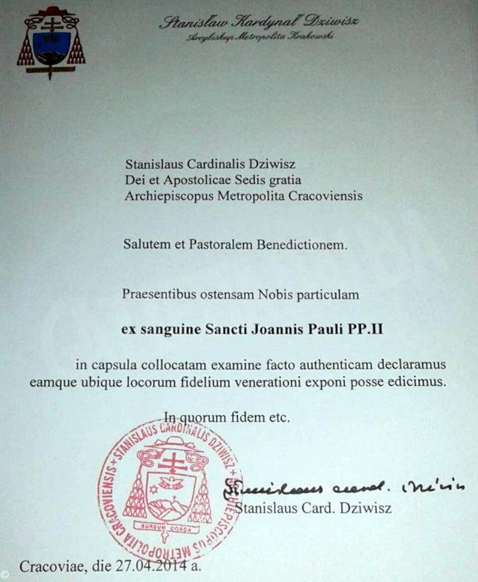 Autentica reliquia Giovanni Paolo II