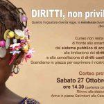 Anche a Cuneo, sabato, la manifestazione Diritti, non privilegi