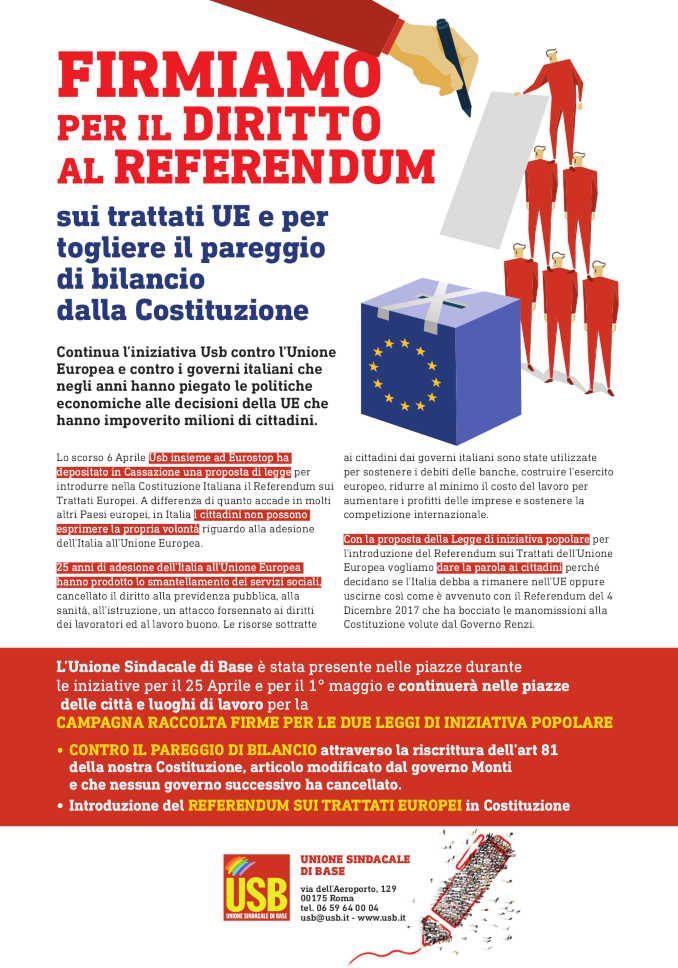 L'Unione sindacale di base raccoglie firme per due leggi di iniziativa popolare